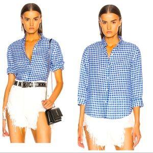 R13 White & Blue Mini Check Oxford 3/4 Sleeve BDS